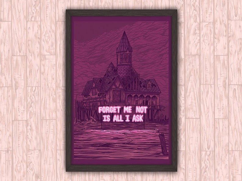 Forget Me Not  Eerie Spooky Neon Sign Haunted House Wall image 0