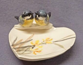 Handmade Hand Painted Ceramic Trinket Dish with Love Birds - Ring Holder, Jewelry Holder, Wedding, Anniversary, Romantic , Valentine's  day