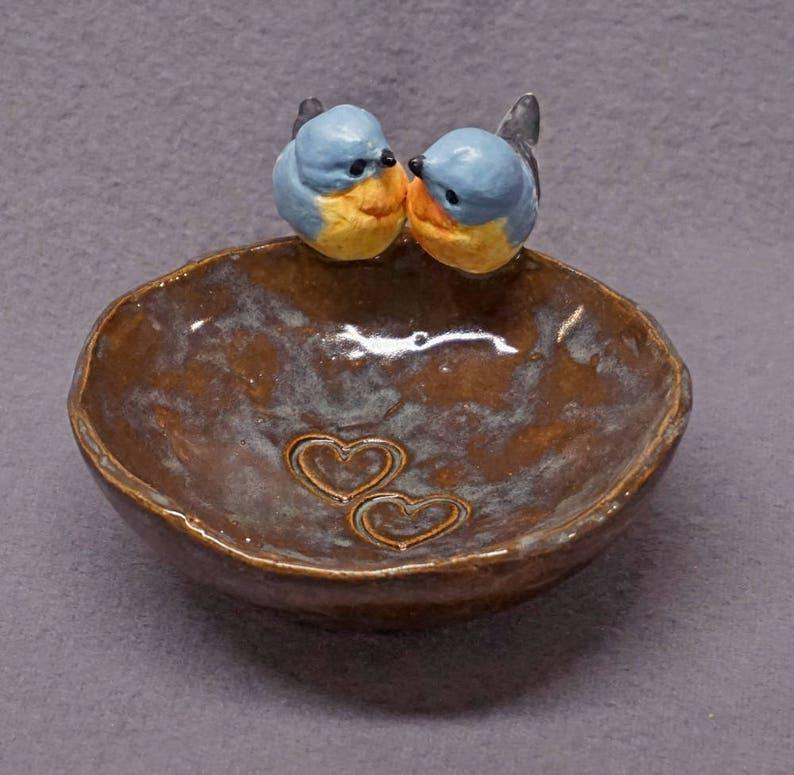 Trinket Bowl Rustic Style with Two Birds, Love Birds - Handmade Ceramic  Bowl, Decorative Bowl, Wedding Gift, Romantic