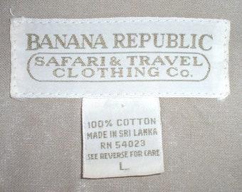1980s vintage Banana Republic men's cotton khaki light jacket, Large, Sri Lanka