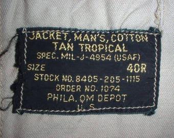 "US Air Force cotton tropical ""safari"", British-style shirt size 40 Regular dated 1954"