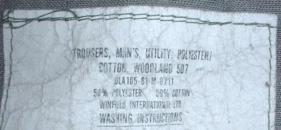 US Army polyester/cotton blend utility trousers 26X33 w  thigh pockets