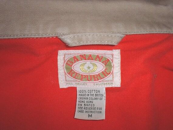 Banana Republic brand circa 1980s cotton khaki flannel-lined jacket Medium Hong Kong
