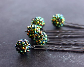 Forest Green Aurora Borealis Sphere Bridal Hair Pin wedding jewelry accessory Victorian Edwardian Steampunk Downton Abbey Gatsby Fascinator