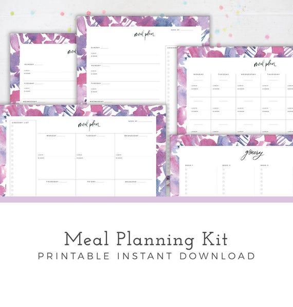 Meal Planning Kit Printable Grocery List Meal Planner Menu Plan Monthly Weekly Meal Plan Meal Prep Printable Calendar