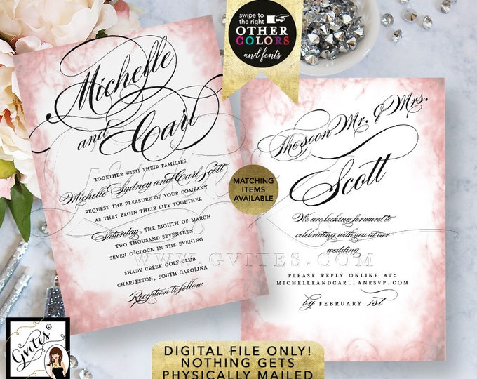 Blush Pink Wedding Printable Invitation, Double Sided, Pink White Black, Invitation Template, Bridal Invites, Digital, 5x7, Double Sided.