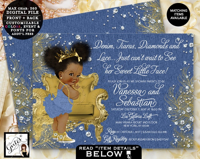 """Denim & Diamonds Baby Shower Gold and denim bows ribbons and pearls, Tiara African American, digital double sided, Afro Puffs 7x5"""" Gvites"""