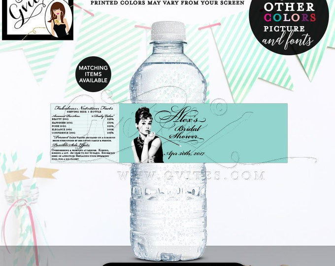 "Bride & Co water labels, breakfast at blue themed Audrey Hepburn label bottle wrapper, favors gifts, customizable {8x2"" 5 Per/Sheet}."