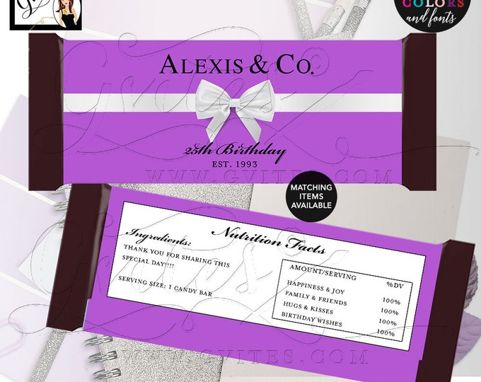 """Purple Candy Bar Wrapper 25th birthday party favors, Breakfast at co labels Customizable 2 Per/Sheet 5.25x5.75"""" {Realistic Satin Ribbon}"""