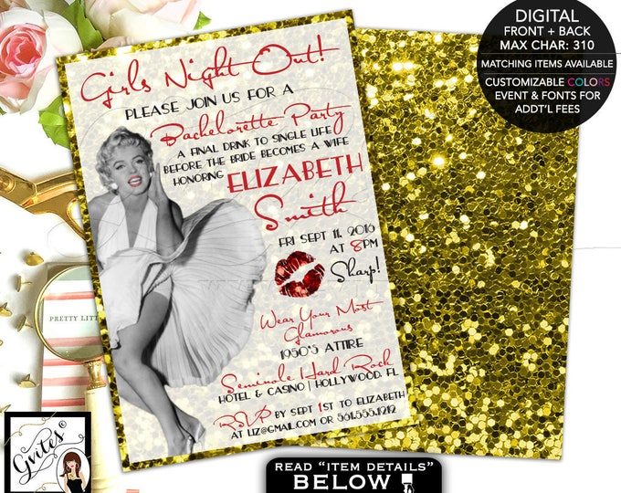 Marilyn Monroe Party Gold glitter invitations, Girls night out bachelorette party, old hollywood style, glitz and glamour, 5x7 double sided.