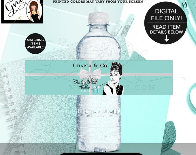 "Water Bottle Labels Bridal Shower, Audrey Hepburn Party, Decorations, Label, Stickers, Decor, Breakfast at, Bride and Co, 8x2"" 5 Per/Sheet."