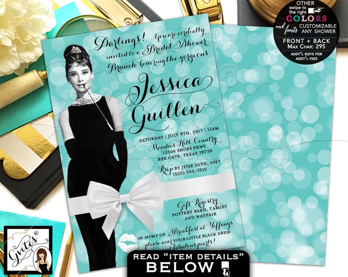 Breakfast Bridal Shower Brunch Invitation, Audrey Hepburn shower invitations, customizable colors, PRINTABLE 5x7, double sided