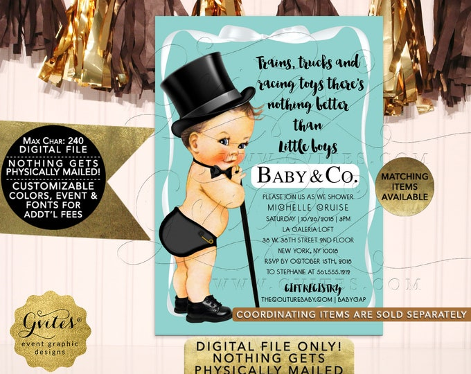 Baby and Co Baby Shower Boy Invites, Trains Trucks and Racing Toys There is nothing better than little boys, printable, diy, 5x7, DIGITAL