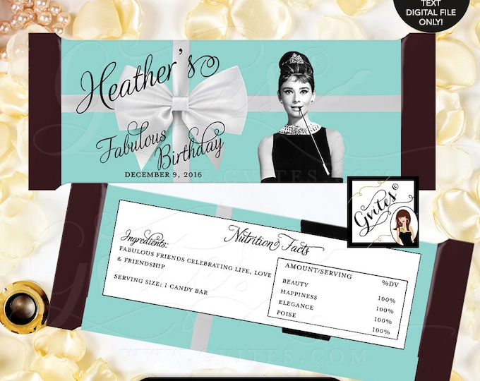 "Breakfast at Candy Bar Wrapper, birthday chocolate wrapper, Audrey Hepburn party decor PRINTABLE {2 Per/Sheet 5.25 x 5.75""}"