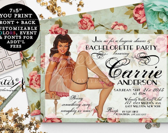 Retro Pin Up Girl Invitations, Vintage bridal shower Bachelorette Party, Girl invitation, 1950s, lingerie pinup girl invites, 7x5.