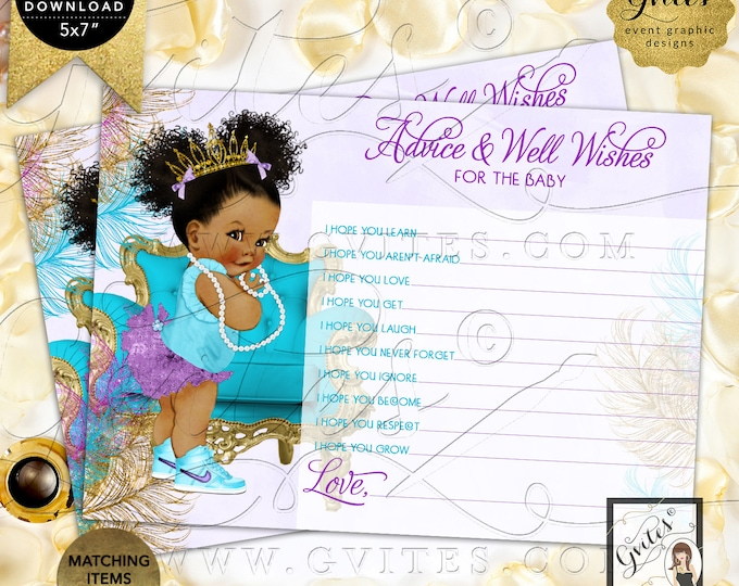 "Purple Gold Turquoise Lavender Advice for baby shower wishes | Dark/Puffs Curly | 7x5"" 2 Per Sheet 
