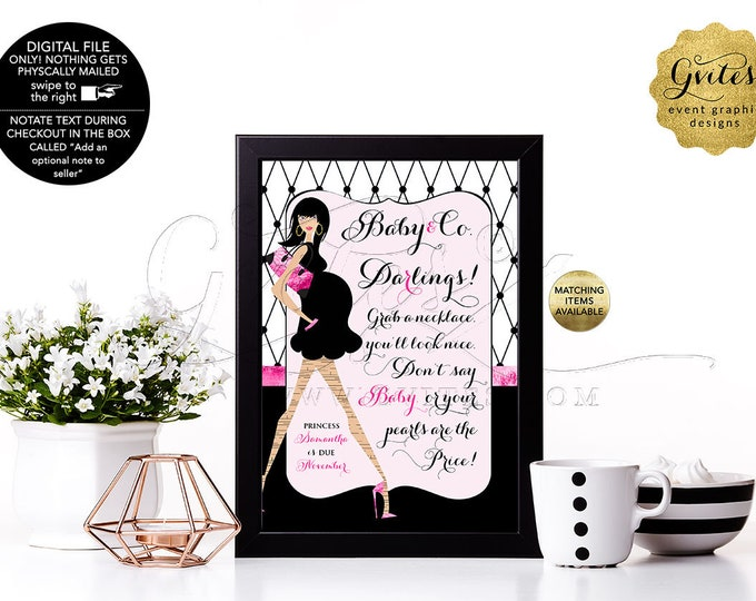 Baby Shower Printable Games, Pearl Necklace Game Sign, Don't Say Baby Pink and Black Paris Baby and Co Themed. 4x6 or 5x7