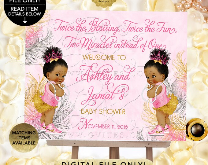 Twins Welcome Sign Baby Shower, Princess Decor, Vintage Girl African American Afro Puffs {Pink/Silver/Gold Feathers}