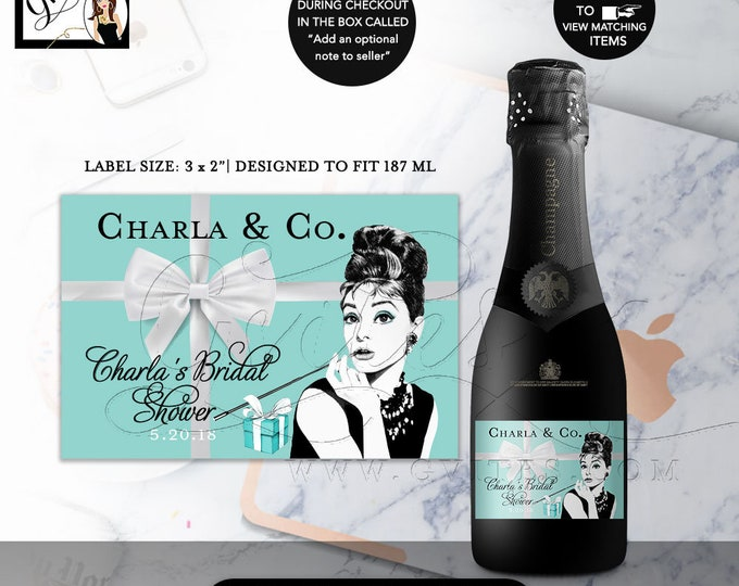 "Bridal Shower Party Decorations Favors,Champagne Labels Mini Audrey Hepburn Party Theme, Stickers, Labels, Breakfast at, 3x2""/9 Per Sheet"