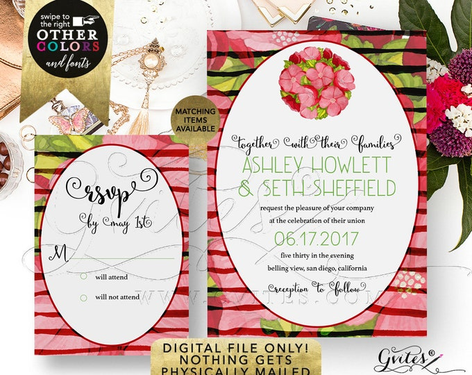 Peony Wedding Invitation and Response Card, Peonies Invites, Bridal, Red Green Watercolor, Floral, DIY, Printable, Template, Digital File!