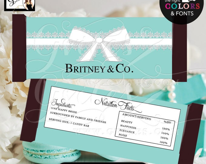 "Bride & Co Candy bar wrappers, blue theme decorations, labels decor, breakfast at and co favors gifts, {2 Per/Sheet 5.25 x 5.75""}"