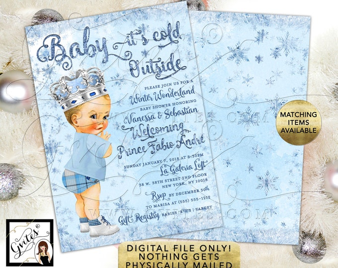 """Prince Winter Wonderland Baby Shower Invitations, Silver and Ice Blue. Snowflake Vintage Baby Boy Printable Invitations. 5x7"""" Double Sided."""