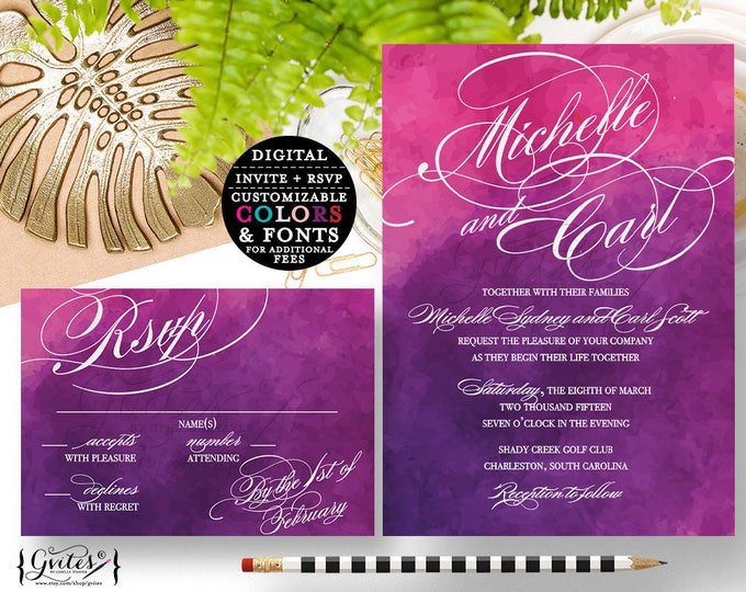 Pink and Purple wedding invitation, lavender, pink, Modern style, response card, digital file, 5x7 & 5x3.5