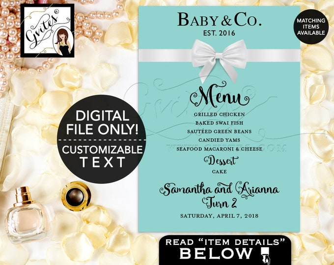 Baby and Co Menu Printable, Birthday Baby Menu Cards, Breakfast at and Co Party Themed, BABY GIRL. Digital DIY, 5x7, Gvites.