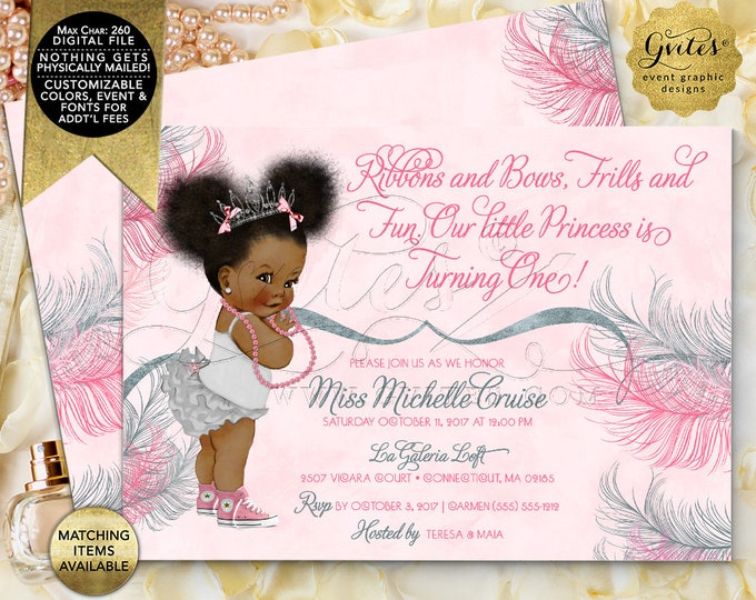 """Pink Silver Princess Birthday Invitations Afro Puffs Vintage African American Baby Girl. Double Sided, Digital File! 7x5""""