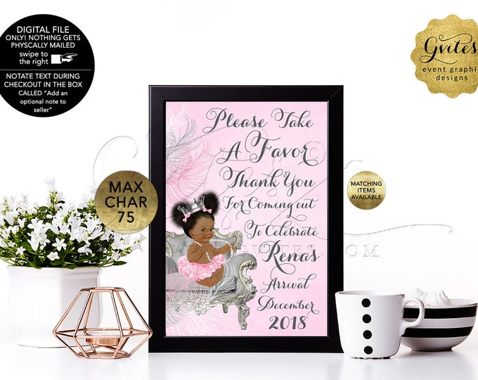 """Take a favor sign Baby Shower Signs Pink Silver, Princess Vintage Baby Girl, Other Skin-Tone Available. Digital File! 4x6"""" or 5x7"""""""