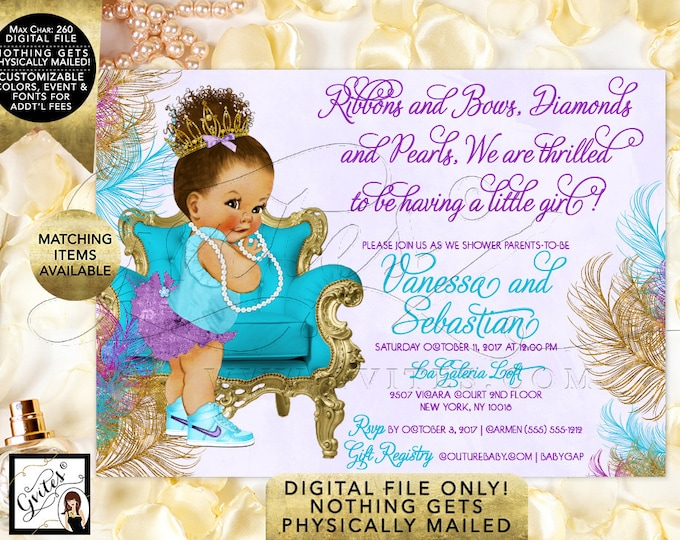 Turquoise Lavender Purple Gold Baby Shower Invitations, Afro Bun Curly African American Princess Vintage | Design: TIACH-105 By Gvites