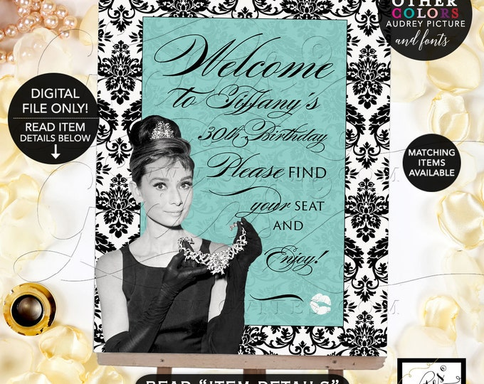 Welcome Birthday Signs, breakfast at blue and co themed, Audrey Hepburn party supplies, 30th birthday Printable Digital File Only! Gvites