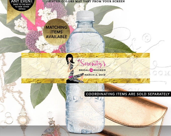 "Pink and Gold Bridal Shower Water Labels | Printable Digital JPG + PDF 8x2""/5 Per Sheet | By Gvites"