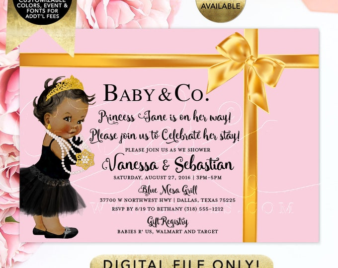 Baby and Co Baby Shower Invitations, Pink and Gold Ribbon Bow, Diamonds Pearls, Tiara Gold Princess, Breakfast at, DIY, Digital {Light Pink}