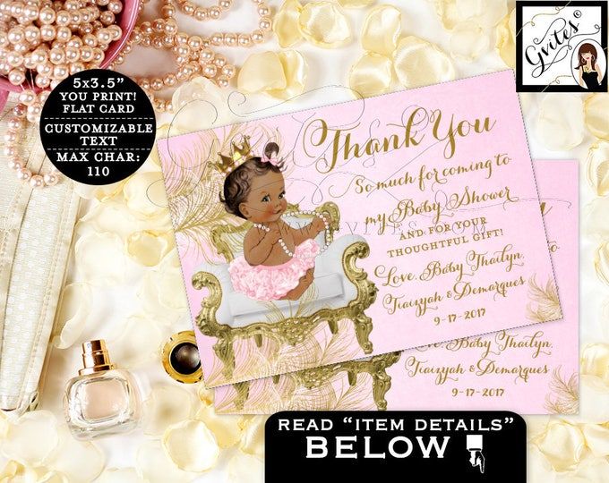 "Princess African American Thank You Cards, Pink Gold, baby shower girl, ethnic baby girl thank you 5x3.5"" 4 Per/Sheet. {White/Gold Feathers}"