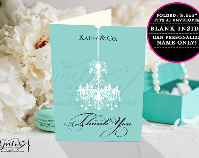 "Birthday thank you card printable, breakfast at and co blue themed party printables, elegant thank you notes. 3.5x5"" 2 Per/Sheet Chandelier"