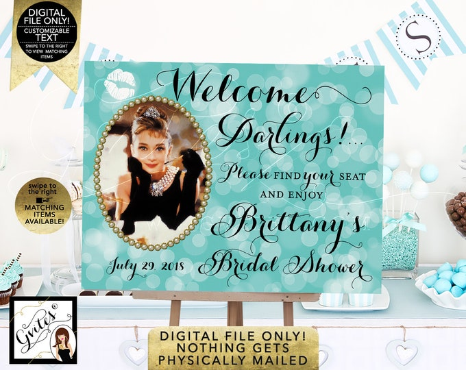 Welcome Bridal Shower Signs - Audrey Hepburn Party Themed. Digital File Only!
