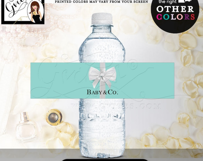 """Baby and co water bottle labels, baby shower co stickers, bottle wrapper {REALISTIC SATIN RIBBON} 8x2""""/5 Per Sheet. Digital File Only!"""