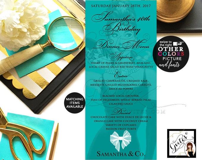 Breakfast at menu cards, BIRTHDAY menus, customizable Audrey Hepburn party printables, table signs blue and co menus, 4x9 DIGITAL