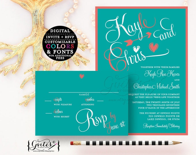 Turquoise and Coral Wedding invitations, turquoise blue and coral printable wedding digital invites, wedding and response card. {You Print}