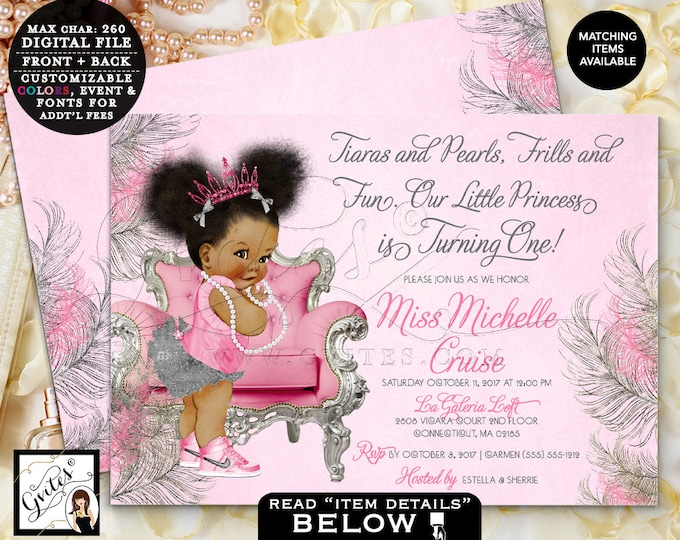 Pink & Silver First Birthday Invitation | Printable Digital File Only! | JPG + PDF | Double Sided 7x5"