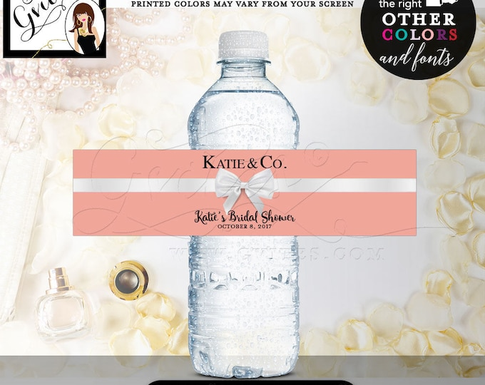 """Water Bottle Labels Printable Bridal Shower, stickers, party favors blush personalized gifts, bottle wrappers, 8x2""""/5 Per Sheet"""