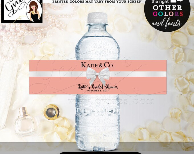 """Water Bottle Labels Printable Bridal Shower water labels, stickers, party favors blush personalized gifts, bottle wrappers, 8x2""""/5 Per Sheet"""