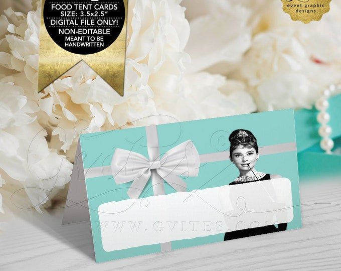 "Breakfast at Food Tent Cards, Blue White, Audrey Hepburn Printable, Table Decor,Tent Cards, Decorations Digital, DIY 3.5x2.5"" 4 Per/Sheet"