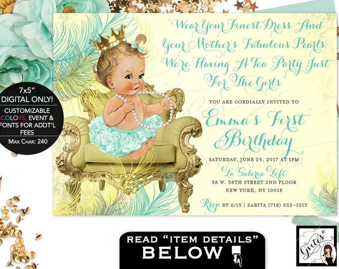 Mint Green First Birthday Invitation princess baby girl 1st party invitations, yellow gold and mint, digital file only! 7x5, Gvites.