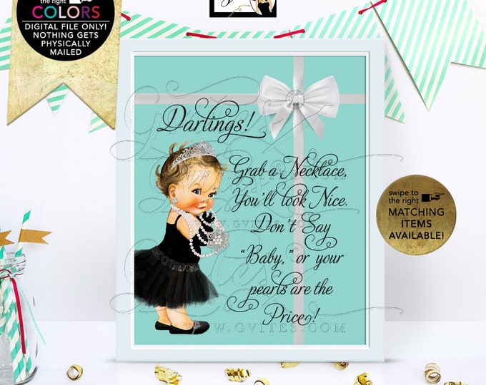 "Baby Shower Pearl Necklace Game Sign, Breakfast at themed, Audrey Hepburn baby vintage, princess, blue, printable, diy, digital, 8x10"""