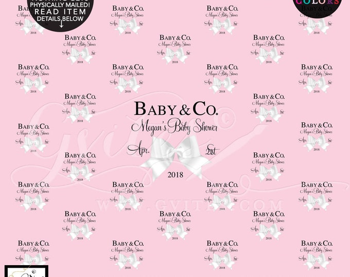 Baby and Co Step and Repeat Backdrops, breakfast at baby shower, pink and white bow, baby & co, custom backdrops, Digital File Only!