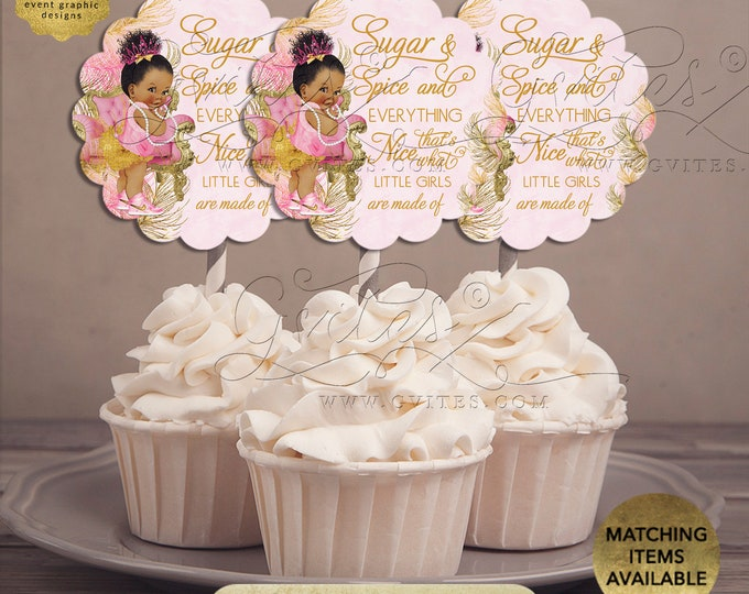 """Sugar & Spice and Everything Nice Decorations Dessert Table   {Design: TIACH-110} By Gvites   2.5x2.5""""/9 Per Sheet {Avery® 08218}"""
