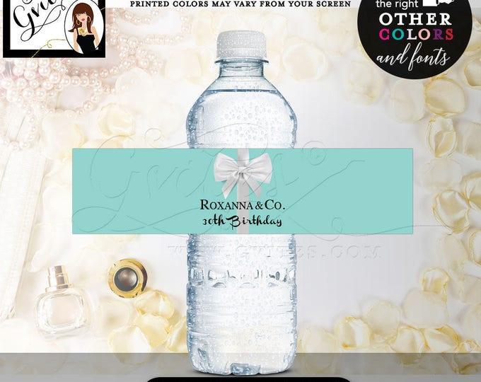 """30th Birthday & Co Water Bottle Labels, CUSTOMIZABLE stickers, PRINTABLE, breakfast at decorations, tags, blue theme, {8x2"""" 5 Per Sheet}"""