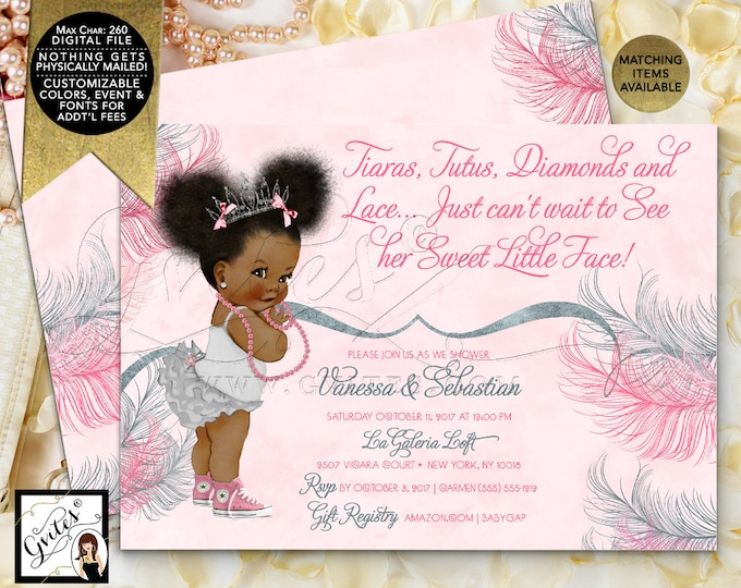 Tiara baby shower invitation, African American princess, pink and silver tutus, diamonds pearls,  7x5 Double Sided. Afro Puffs. Gvites